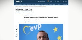 Manfred Weber chce nepřátelům EU sebrat finance
