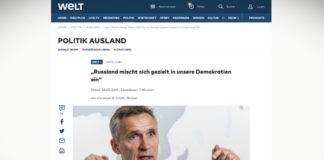 """Stoltenberg: """"Rusko se cíleně vměšuje do naší demokracie"""""""
