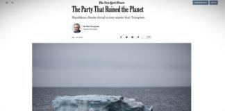 """Paul Krugman: """"Strana, která ničí planetu"""""""