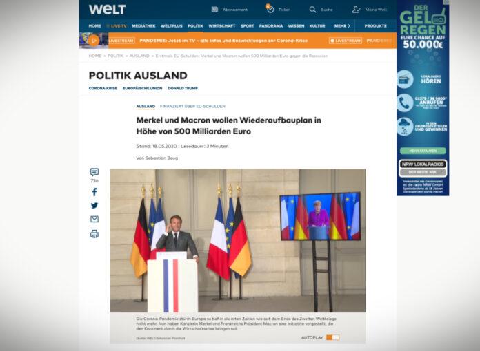 Merkelová a Macron navrhují plán obnovy ve výši 500 miliard eur